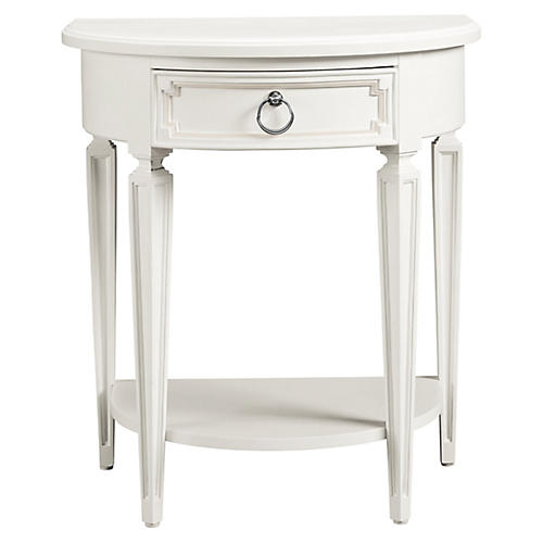 Fluted Single Drawer Nightstand, White