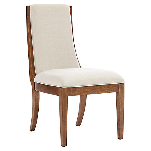 Madagascar Side Chair, Goldenrod/Ivory Linen