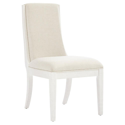 Madagascar Side Chair, Alabaster/Ivory Linen
