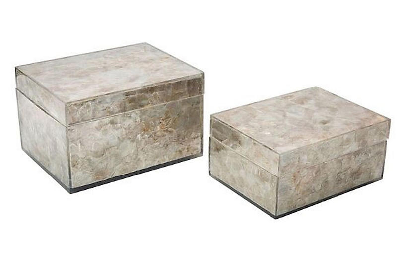Asst. of 2 Concord Decorative Boxes, Natural Mica