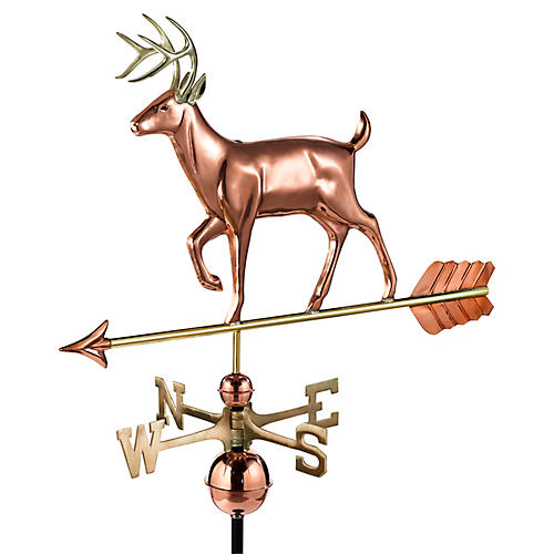 "41"" White-Tailed Buck Weather Vane, Copper"