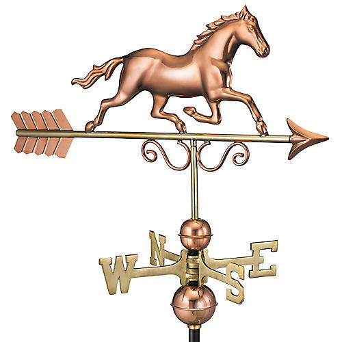 "33"" Galloping Horse Weather Vane, Copper"