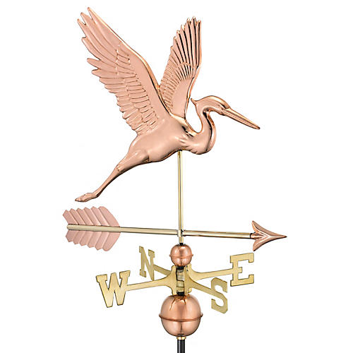 "36"" Graceful Heron & Arrow Weather Vane, Copper"
