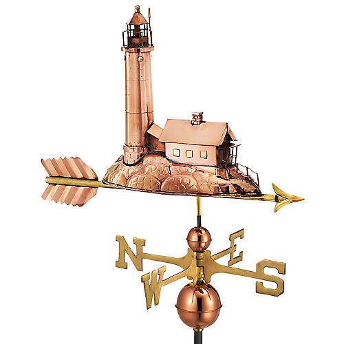 """34"""" Lighthouse Weather Vane, Copper"""