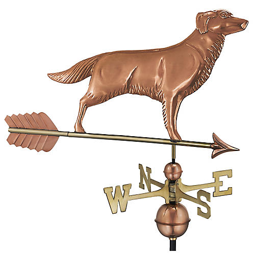 "37"" Golden Retriever Weather Vane, Copper"
