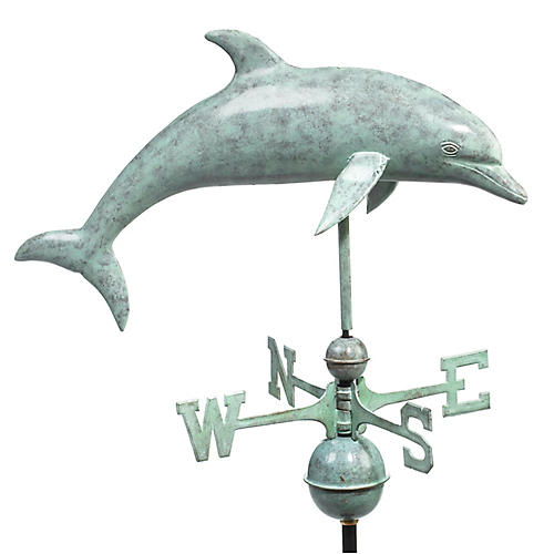 "34"" Dolphin Weather Vane, Blue-Verde Copper"