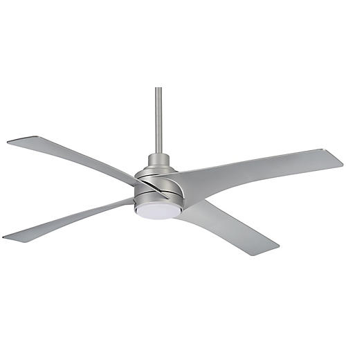 Swept LED Ceiling Fan, Silver