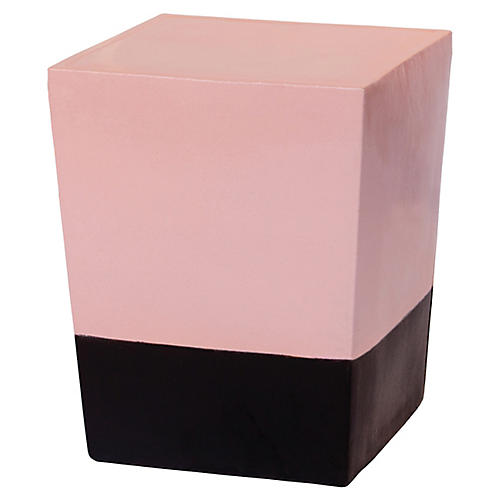 Low Luster Outdoor Stool, Calico Pink/Black