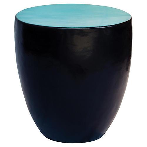 Palau Drum Side Table, Aquamarine