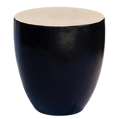 Palau Drum Side Table, Cream/Black