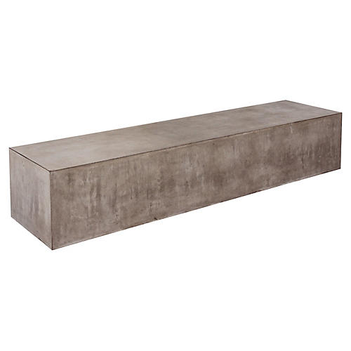 Monolith Concrete Bench, Gray