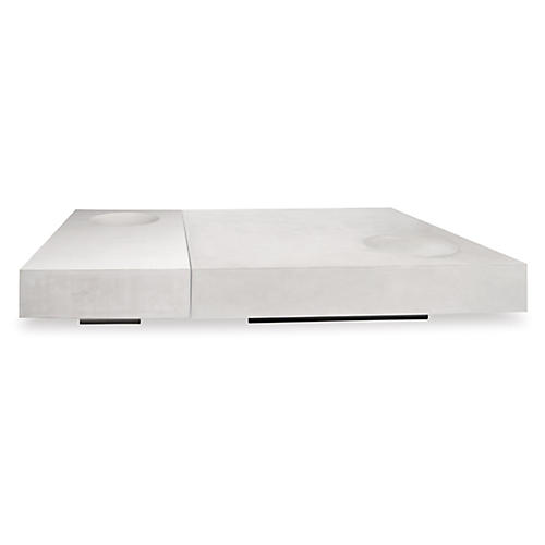 Twins Concrete Coffee Table, Ivory