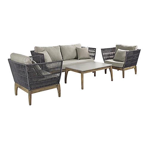 Wings 4-Pc Lounge Set, Gray