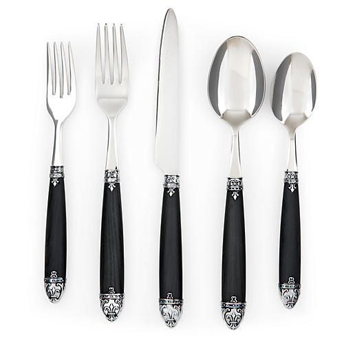 20-Pc Lila Flatware Set, Black
