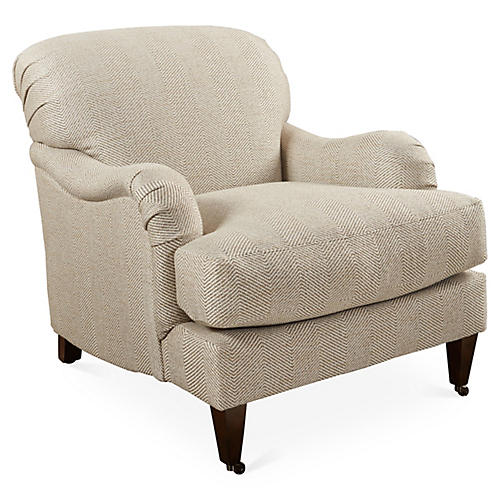 Hayes Club Chair, Beige Herringbone