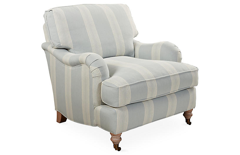 Brooke Club Chair, Blue Stripe