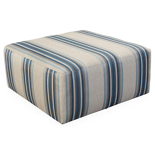 Kinson Cocktail Ottoman, Blue Stripe