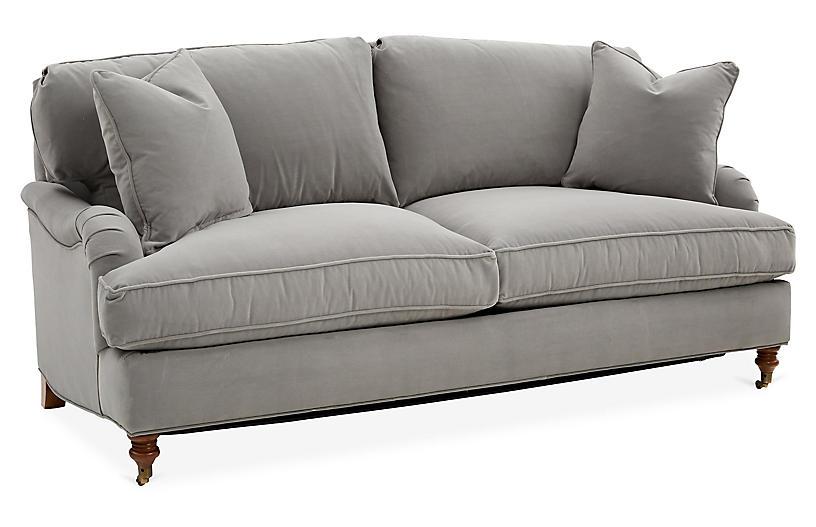 Brooke Sleeper Sofa, Light Gray Crypton Velvet