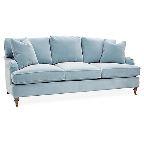 Brooke 3-Seat Sofa, Light Blue