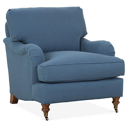 Brooke Club Chair, Indigo Crypton