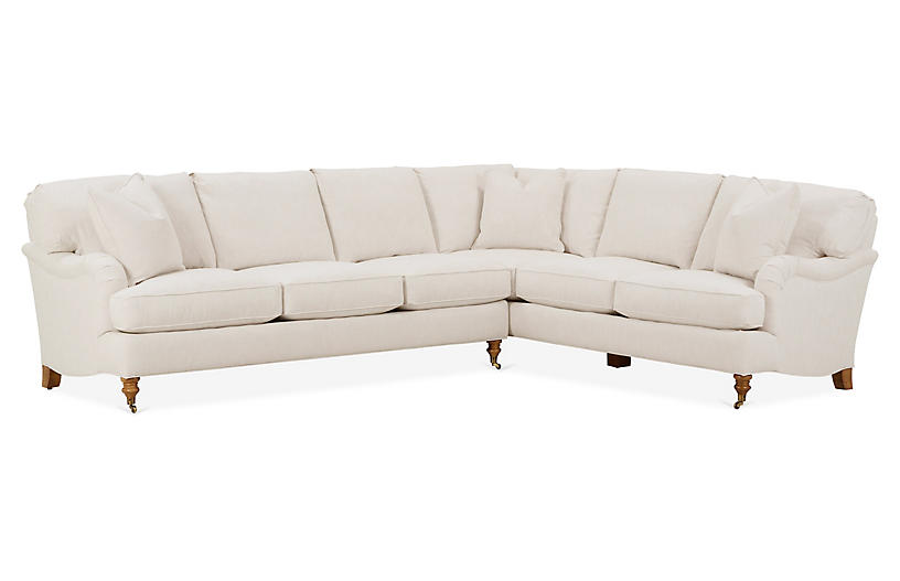 Brooke Left-Facing Sectional, Ivory Crypton