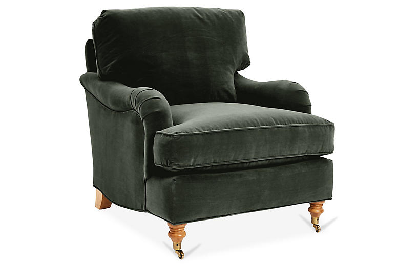 Brooke Club Chair, Forest Velvet