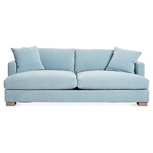 Hudson Sofa, Light Blue Velvet