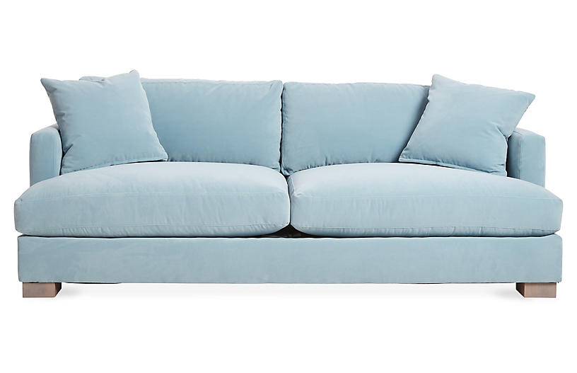 One Kings Lane Hudson Sofa Light Blue Velvet One Kings Lane