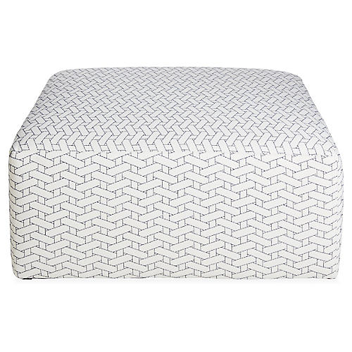 Miles Cocktail Ottoman, Midnight/Ivory