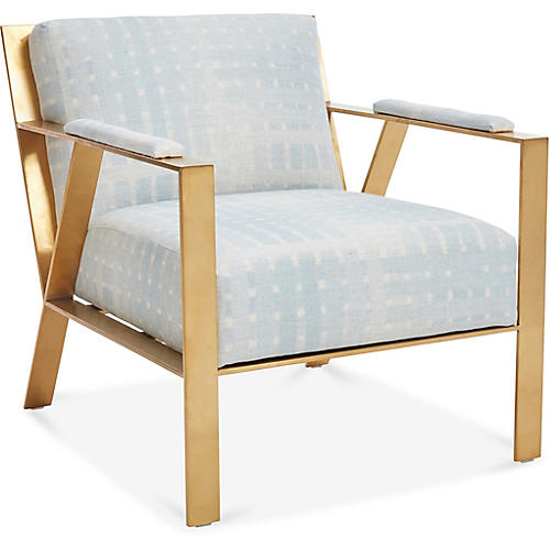 Baran Accent Chair, Ice Blue