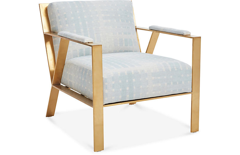 Baran Accent Chair, Ice Blue