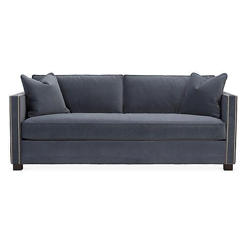 Shaw Bench-Seat Sofa, Slate Velvet