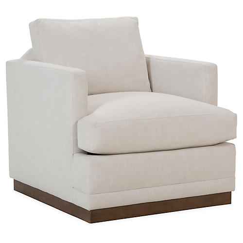 Shaw Swivel Club Chair, Ivory Crypton