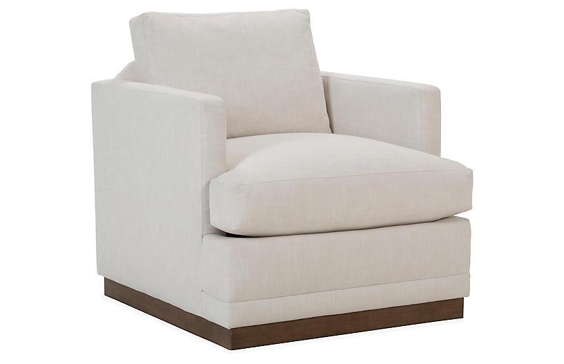 Shaw Swivel Club Chair, Ivory Crypton