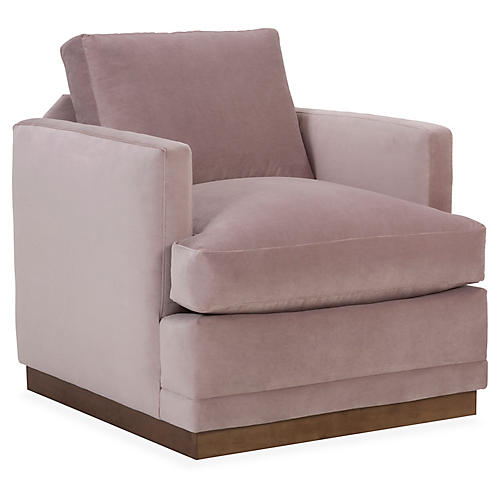 Shaw Swivel Club Chair, Mauve Velvet