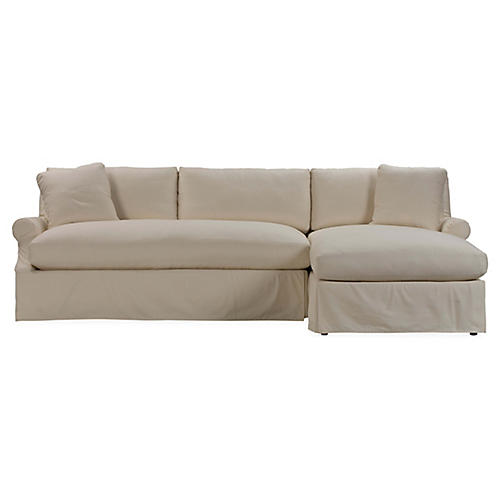 Bristol Right-Facing Slipcover Sectional, Ivory
