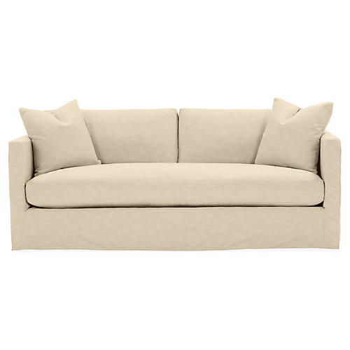 Shaw Bench-Seat Slipcover Sofa, Bisque Crypton