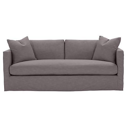 Shaw Bench-Seat Slipcover Sofa, Charcoal Crypton