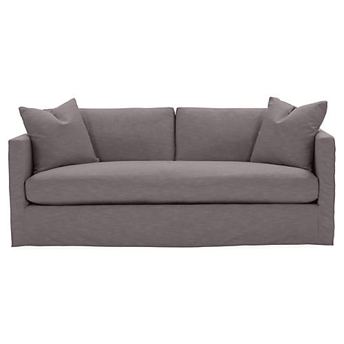 Shaw Bench-Seat Slipcover Sofa, Charcoal Crypton