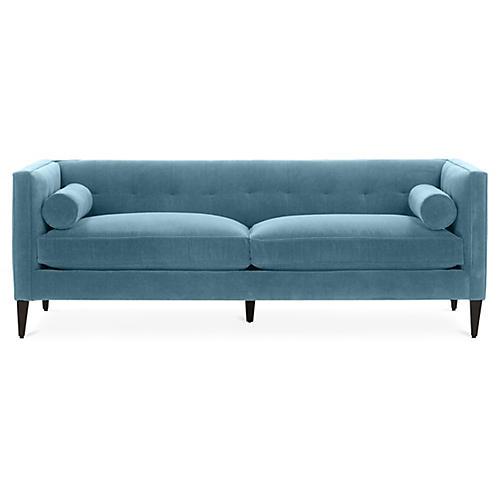 Georgina Tufted Sofa, Colonial Blue Crypton