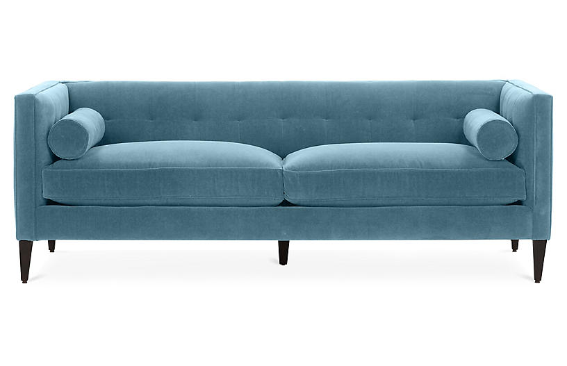 Georgina Tufted Sofa, Colonial Blue Crypton