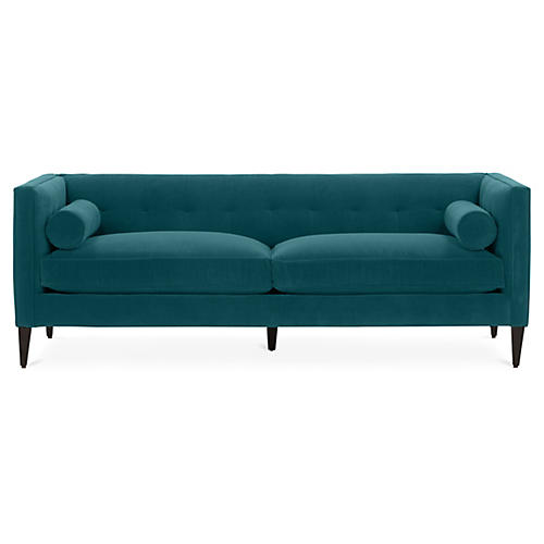 Georgina Tufted Sofa, Peacock Crypton