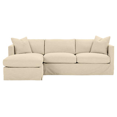 Shaw Left-Facing Sectional, Bisque Crypton