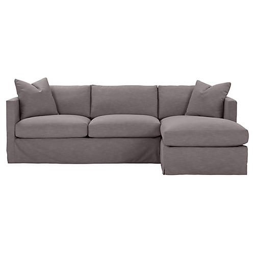 Shaw Right-Facing Sectional, Charcoal Crypton
