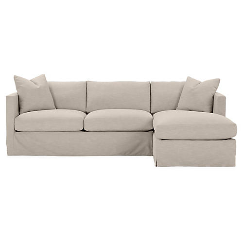 Shaw Right-Facing Sectional, Greige Crypton