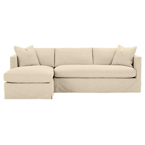 Shaw Left Bench-Seat Sectional, Bisque Crypton