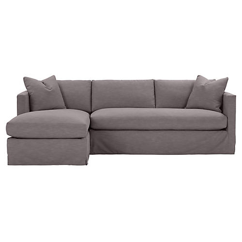 Shaw Left Bench-Seat Sectional, Charcoal Crypton
