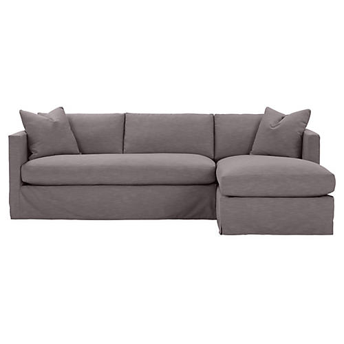 Shaw Right Bench-Seat Sectional, Charcoal Crypton