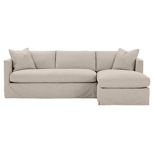 Shaw Right Bench-Seat Sectional, Greige Crypton