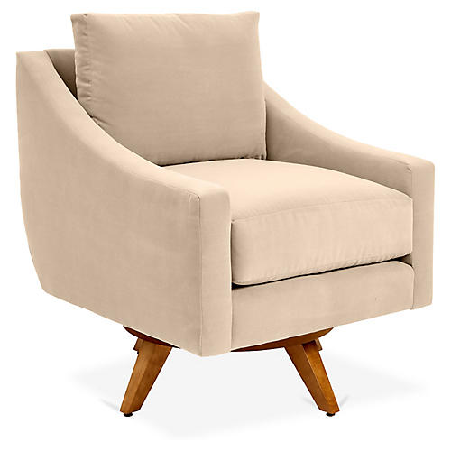 Nash Swivel Club Chair, Bisque Crypton